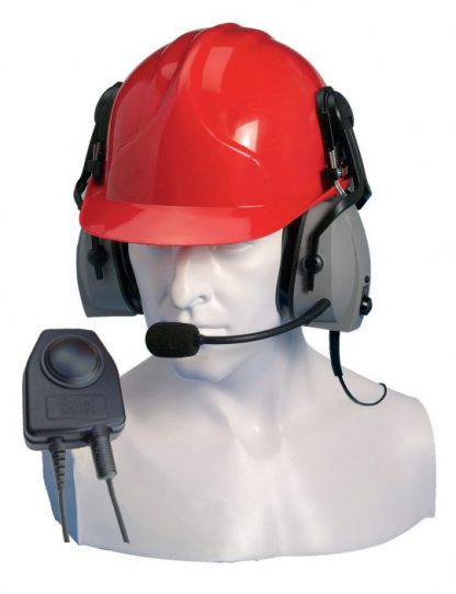 heavy duty ear defender headset with noise-cancelling boom microphone
